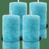 Pack de 4 Bougies Marbrées Turquoise 7x5cm
