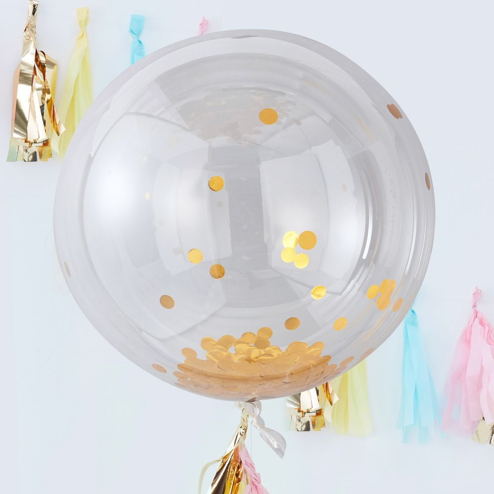 Ballons Géant Confetti Or x3