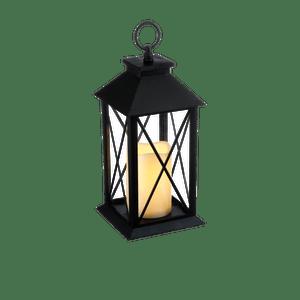 Lanterne avec bougie LED Noire Patinée 28 cm