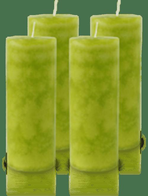 Pack de 4 Bougies Marbrées Vert Citron 18x7cm