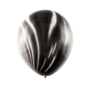 Ballon Marbré Latex Noir et Blanc x6