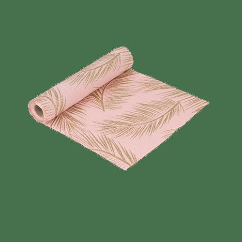 Chemin De Table Lin Fougère Rose et Or 28 cm