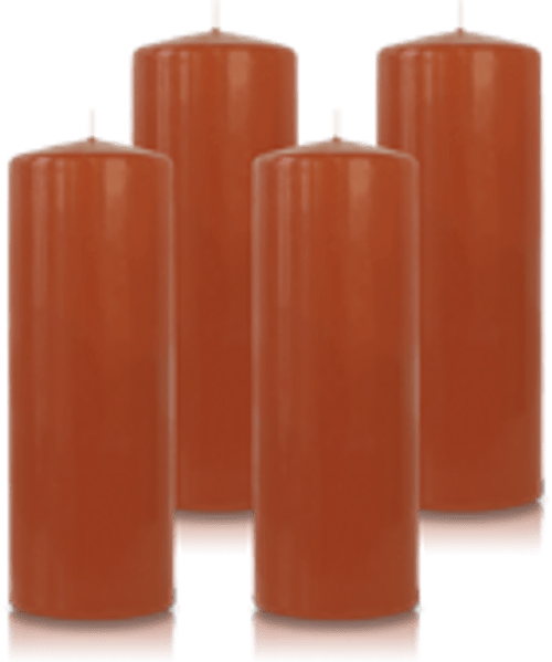 Pack de 4 bougies cylindres Caramel 7x21cm
