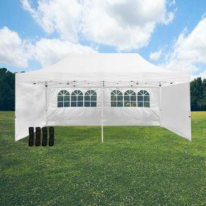 Tente Pliable 3x6m imperméable 320 g/m2 Blanche + 6 Parois + Kit de Lestage