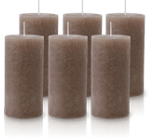 Pack de 6 Bougies Rustiques Taupe 14x7cm