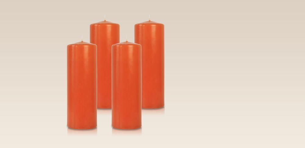 Pack de 4 bougies cylindres Citrouille 7x21cm