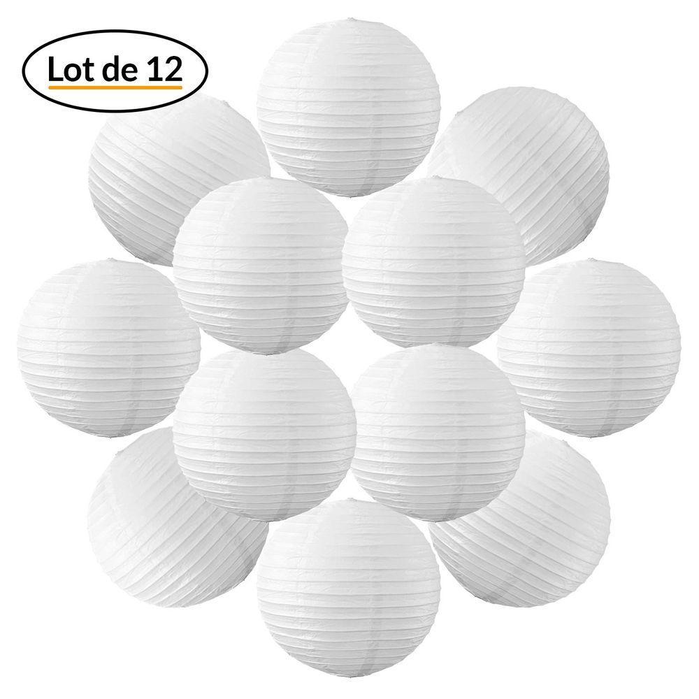 Lot de 12 Boules Japonaises Blanches 30 cm