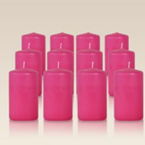 Pack de 12 bougies cylindres Fuchsia 6x10cm