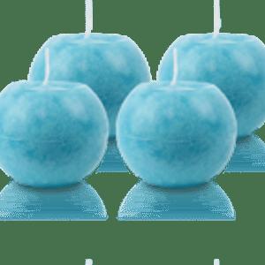 Pack de 4 Bougies Rondes Marbrées Turquoise 8cm