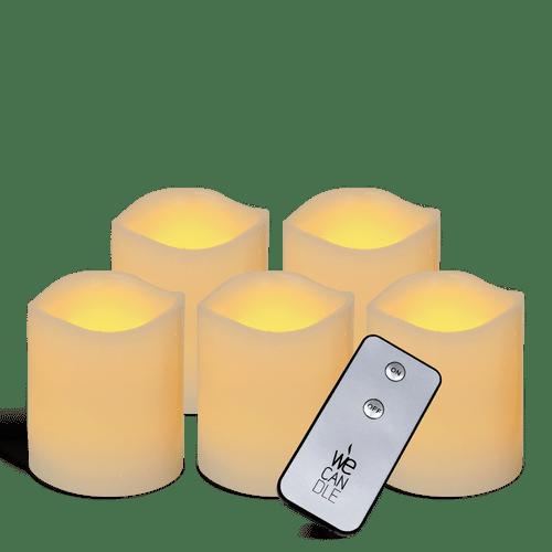 Pack Pilier LED vagues ivoire 7.5x7.5cm avec télécommande
