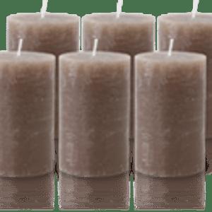 Pack de 6 Bougies Rustiques Taupe 11x7cm