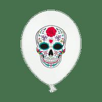 Ballon Latex Dia de Los Muertos Blanc x6