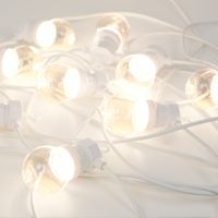 Guirlande Guinguette 3M Câble Blanc Bulbes Transparent Avec Prise