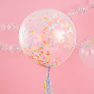 Ballon Confettis geant Latex Transparent et Multicolore x3