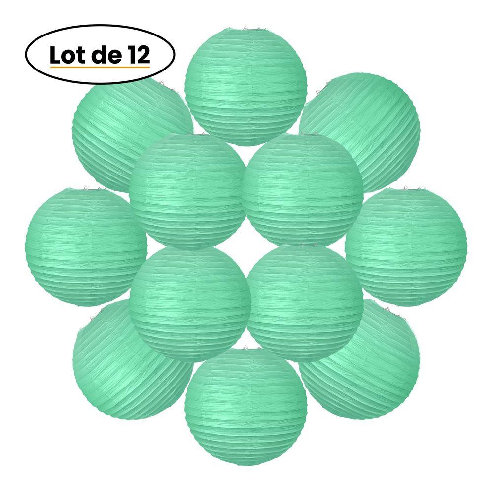 12x Lanterne Papier 30 cm Vert d'eau - Suspension Boule Papier 30 cm (12'') type Lanterne Japonaise pour Decoration Mariage - 12 pièces - Le must de la Gamme de Lampions Papier - Notice en Français.