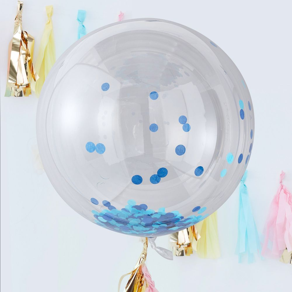 Ballons Géant Confetti Bleu x3