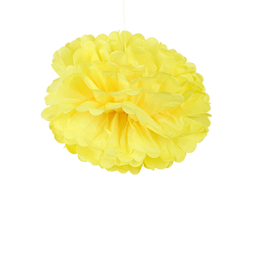 Pompons Jaune Citron 40cm x2