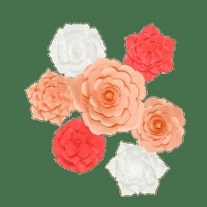 Kit Fleurs En Papier Salmon x7