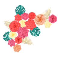 Kit Fleurs En Papier Tropiques x14 + Rameaux
