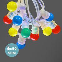 Kit Guirlande Guinguette 50m IP 65  Multicolore Cable Blanc