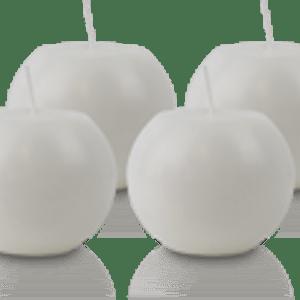 Pack de 4 Bougies Rondes Marbrées Blanche 8cm
