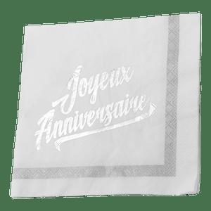 Serviette papier joyeux anniversaire blanc x20