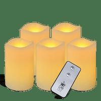 Pack Pilier LED vagues ivoire 7.5x10cm avec Télécommande