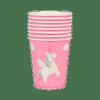 Gobelet Carton Licorne Rose x8
