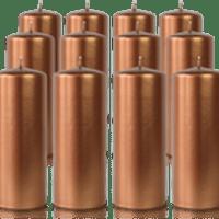 Pack de 12 bougies cylindres Bronze 6x15cm