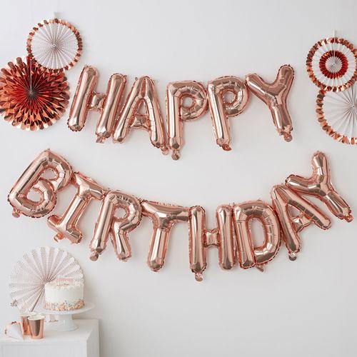 Ballons Happy Birthday Rose Gold