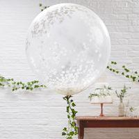 Ballon Géant Confettis Blanc x3