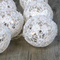 Guirlande Lumineuse Boules Dentelle Blanc