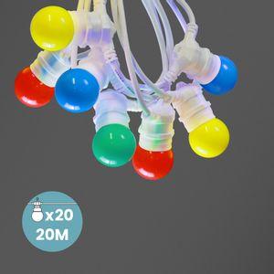 Kit Guirlande Guinguette 20m IP 65 Multicolore Cable Blanc