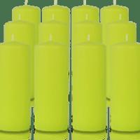Pack de 12 bougies cylindres Vert citron 6x15cm