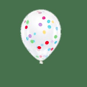 Ballon Confettis Transparent et Multicolore 30 cm x6