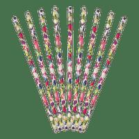 Paille carton fleurs multicolores aquarelle x30