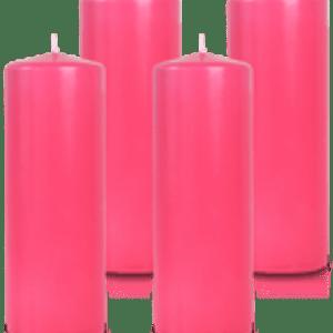 Pack de 4 bougies cylindres Fuchsia 7x21cm
