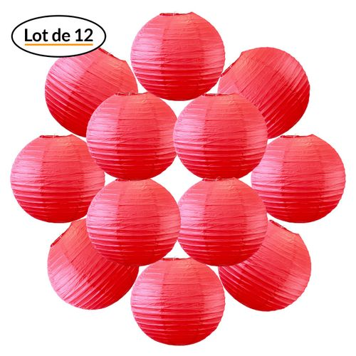 12x Lanterne Papier 30 cm Rouge - Suspension Boule Papier 30 cm (12'') type Lanterne Japonaise pour Decoration Mariage - 12 pièces - Le must de la Gamme de Lampions Papier - Notice en Français.