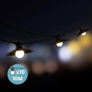 Guirlande Guinguette Blanche Ampoules Remplaçables 10 m avec Coupelles
