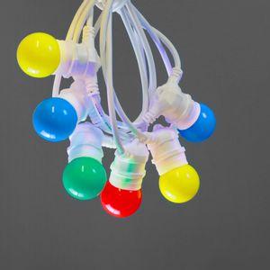 Guinguette Ampoules Remplaçables Multicolore 10 m Cable Blanc