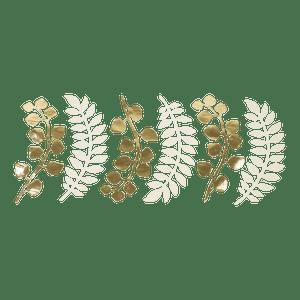 Marque-Place Fougère et Eucalyptus Ivoire et Or 30 cm x6