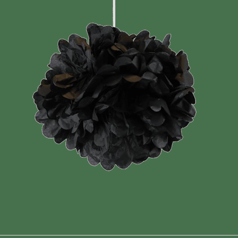 Decoration De Mariage, Fête, Anniversaire Pompons Noir 30 Cm (Lot De 6 Pièces)
