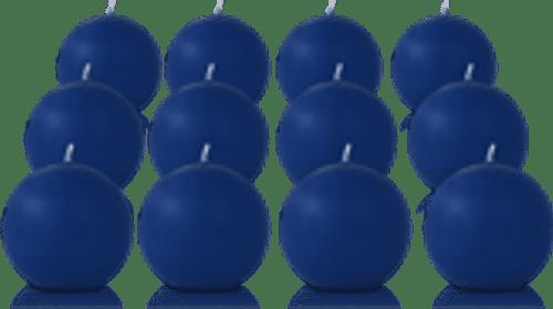 Pack de 12 bougies ronde Bleu saphir 7cm