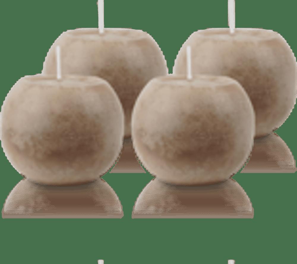 Pack de 4 Bougies Rondes Marbrées Taupe 8cm