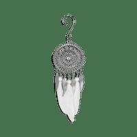 Attrape Rêve Pendantif Métal Blanc Miniature