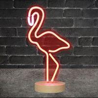 Lampe Néon sur pied Flamant Rose 42 cm
