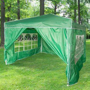 Tonnelle Pliante 3x3m imperméable 160 g/m2 Vert Foncé + 4 Parois