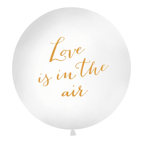 Ballon Geant Love Is In The Air Blanc et Or 1 m