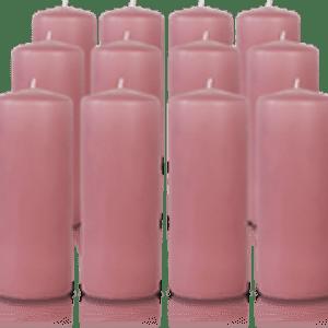 Pack de 12 bougies cylindres Vieux Rose 6x15cm