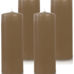 Pack de 4 bougies cylindres Taupe 7x21cm